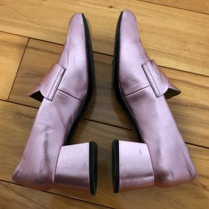 & Other Stories Shoes - Metallic pink block heel loafer shoes